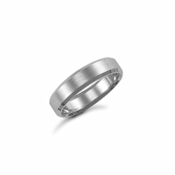 5mm Satin Bevel Wedding Ring Palladium