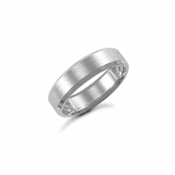 6mm Satin Bevel Wedding Ring 9ct White