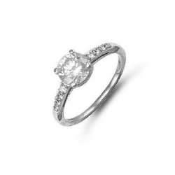 9ct White Gold 6mm Cz Solitare Ring Cz Sides