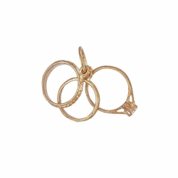 9ct Yellow Gold CZ Triple Ring Pendant
