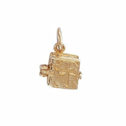 9ct Yellow Gold Opening Bible Charm Pendant