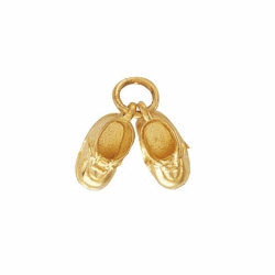 9ct Yellow Gold Pair of Baby Shoes Charm Pendant