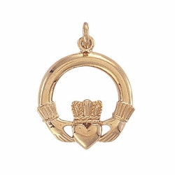 9ct Yellow Gold Claddagh Heart Pendant