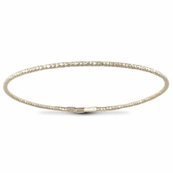 Sterling Silver Thin Disco Slave Bangle - Gold Plated