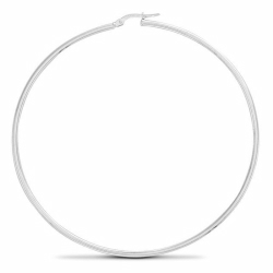 70mm Silver Plain Hoop Earrings