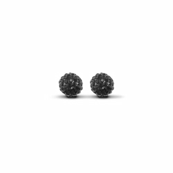 Sterling Silver 8mm Black Crystal Stud Earrings