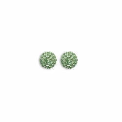 Sterling Silver 8mm Green Crystal Stud Earrings
