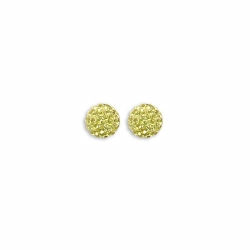 Sterling Silver 8mm Yellow Crystal Stud Earrings