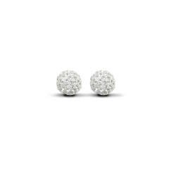 Sterling Silver 8mm White Crystal Stud Earrings