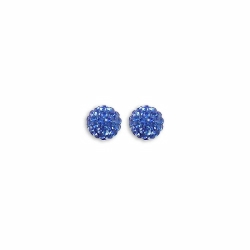 Sterling Silver 8mm Blue Crystal Stud Earrings