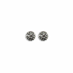 Sterling Silver 8mm Grey Crystal Stud Earrings