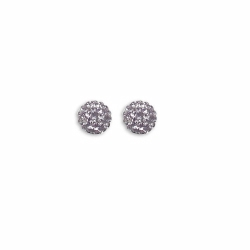 Sterling Silver 8mm Lilac Crystal Stud Earrings