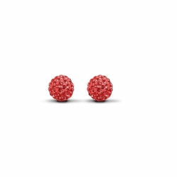 Sterling Silver 8mm Red Crystal Stud Earrings