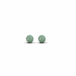Sterling Silver 6mm Green Crystal Stud Earrings