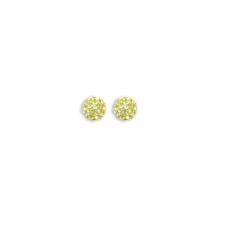 Sterling Silver 6mm Yellow Crystal Stud Earrings