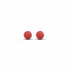 Sterling Silver 6mm Red Crystal Stud Earrings
