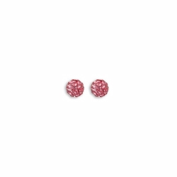 Sterling Silver 6mm Pink Crystal Stud Earrings