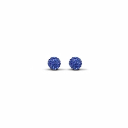 Sterling Silver 6mm Blue Crystal Stud Earrings