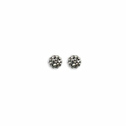 Sterling Silver 6mm Grey Crystal Stud Earrings