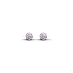 Sterling Silver 6mm Lilac Crystal Stud Earrings