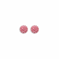 Sterling Silver 8mm Pink Crystal Stud Earrings