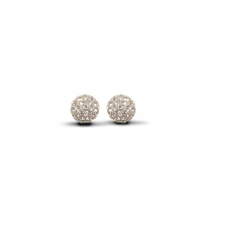 Sterling Silver 8mm Champagne Crystal Stud Earrings
