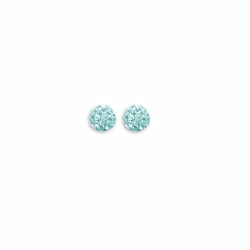 Sterling Silver 6mm Baby Blue Crystal Stud Earrings