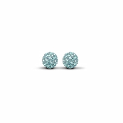 Sterling Silver 8mm Baby Blue Crystal Stud Earrings