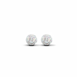 Sterling Silver 8mm Aurora Borealis Crystal Stud Earrings