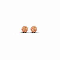 Sterling Silver 6mm Orange Crystal Stud Earrings