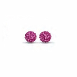 Sterling Silver 8mm Fuschia Crystal Stud Earrings