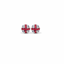 Sterling Silver 10mm England Flag Crystal Stud Earrings