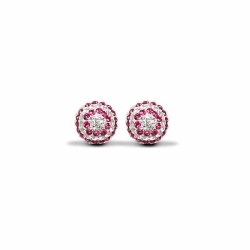 Sterling Silver 10mm Red & White Crystal Stud Earrings