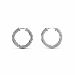 Sterling Silver 16mm Plain Sleeper Earrings