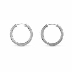 Sterling Silver 20mm Plain Sleeper Earrings