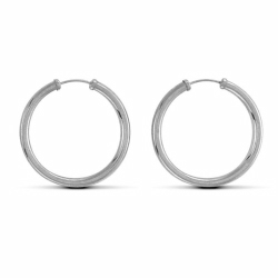 Sterling Silver 29mm Plain Sleeper Earrings
