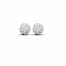 Sterling Silver 10mm White Crystal Stud Earrings