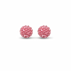 Sterling Silver 10mm Pink Crystal Stud Earrings