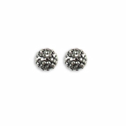 Sterling Silver 10mm Charcoal Crystal Stud Earrings