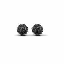 Sterling Silver 10mm Black Crystal Stud Earrings