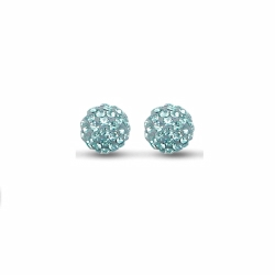 Sterling Silver 10mm Light Blue Crystal Stud Earrings