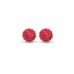 Sterling Silver 10mm Red Crystal Stud Earrings