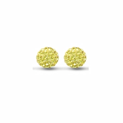 Sterling Silver 10mm Yellow Crystal Stud Earrings