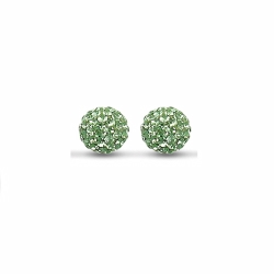 Sterling Silver 10mm Green Crystal Stud Earrings