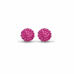 Sterling Silver 10mm Fuschia Crystal Stud Earrings