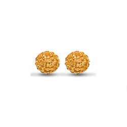 Sterling Silver 10mm Orange Crystal Stud Earrings