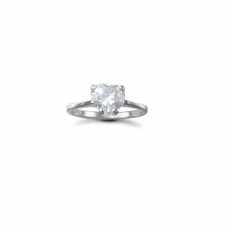 Sterling Silver CZ Heart Single Stone Ladies Ring - N