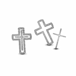 2 In 1 Micropave Cz Cross Pendant 925