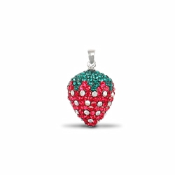 Sterling Silver Red Crystal Strawberry Pendant