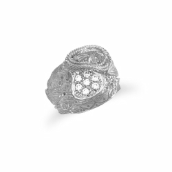 Sterling Silver CZ Saddle & Rope Ring